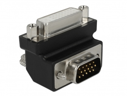 Adaptor DVI 24+5 pini la VGA 15 pini M-T 90 grade, Delock 65425