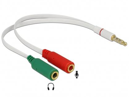 Adaptor Stereo jack 3.5mm la 2 x jack 3.5mm pentru casca + microfon (iPhone) T-M, Delock 65447