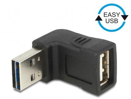 Adaptor EASY-USB 2.0-A T la USB 2.0-A M unghi 90 grade sus/jos, Delock 65521