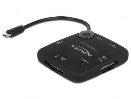Cititor de carduri + Hub USB 2.0 OTG, Delock 65529