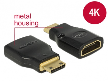 Adaptor HDMI la mini-C HDMI M-T metalic 4K, Delock 65665