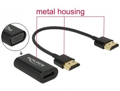 Adaptor HDMI la VGA T-M carcasa metalica + cablu HDMI 15cm, Delock 65667