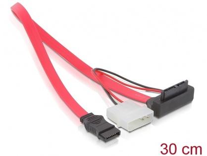 Cablu Slim SATA la SATA unghi + 2 pini Power 5V, Delock 82549