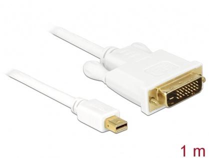 Cablu mini DisplayPort 1.1 la DVI-D 24+1 pini  T-T Alb 1m, Delock 82641