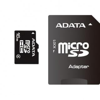 Card de memorie micro SDHC 16GB clasa 4 + adaptor SD, ADATA AUSDH16GCL4-RA1