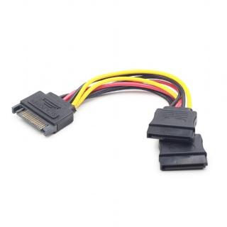 Cablu alimentare SATA la 2 x SATA 0.15m, Gembird CC-SATAM2F-01