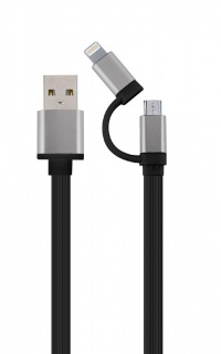 Cablu 2 in 1 USB 2.0 la micro USB-B + adaptor iPhone Lightning 1m Negru, Gembird CC-USB2-AM8PmB-1M-SG