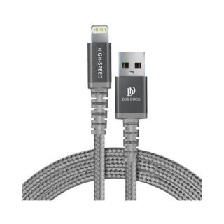 Cablu de date si incarcare USB 2.0 la iPhone Lightning MFI 1m Argintiu, DUX DUCIS X1