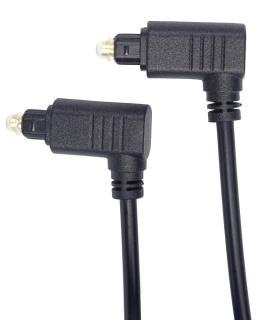Cablu audio optic Toslink cu ambii conectori in unghi 90 grade 1m