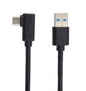 Cablu USB 3.0-C unghi 90 grade la USB-A 0.5m T-T Negru