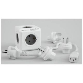 Prelungitor sub forma de cub PowerCube Rewirable + 4 adaptoare Gri, Allocacoc