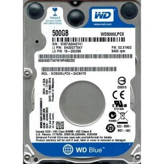 HDD Notebook WD Blue 500GB 5400rpm 16M SATA3
