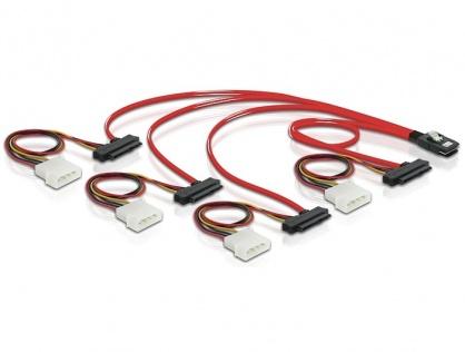 Cablu mini SAS SFF-8087 la 4 x SAS SFF-8482 + alimentare 50cm, Delock 83059