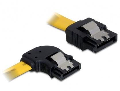 Cablu SATA II 3 Gb/s unghi stanga - drept cu fixare 0.5M, Delock 82493