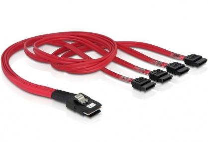 Cablu Mini SAS SFF-8087 la 4 x SATA 50cm, Delock 83057
