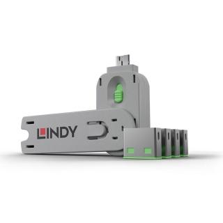 Sistem de blocare Port USB cheie + 4 incuietori Verde, Lindy L40451