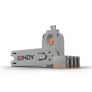 Sistem de blocare Port USB cheie + 4 incuietori Portocaliu, Lindy L40453