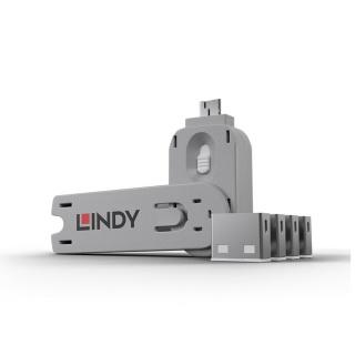 Sistem de blocare Port USB cheie + 4 incuietori Albe, Lindy L40454