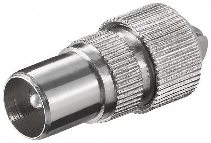 Conector metalic coaxial tata cu surub, Goobay 11479