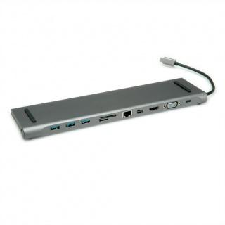 Docking Station USB-C la 4K HDMI/Mini DP, VGA, 3 x USB 3.0, 1 x SD/Micro SD Card Reader, 1 x USB-C PD (Power Delivery), 1 x Gigabit Ethernet, 1 x 3.5mm Audio, Roline 12.02.1117