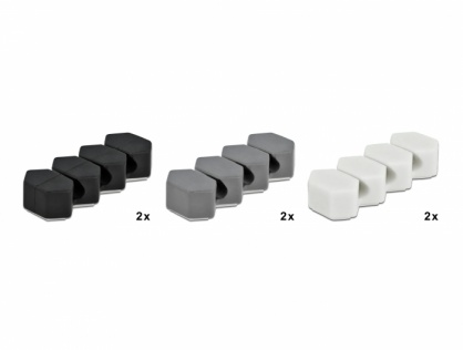 Set 6 organizatoare cu 3 sloturi Negru+Alb+Gri, Delock 18329