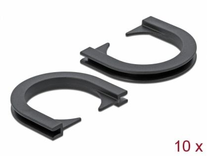 Set 10 buc protectie cabluri forma U - diametru 20.9mm Negru, Delock 60271