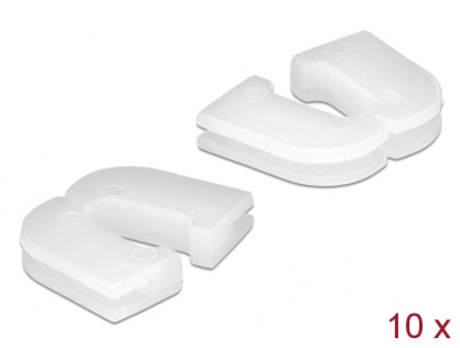 Set 10 buc protectie cabluri dreptunghiular - diametru 6.8 x 2.3 mm Natural, Delock 60256