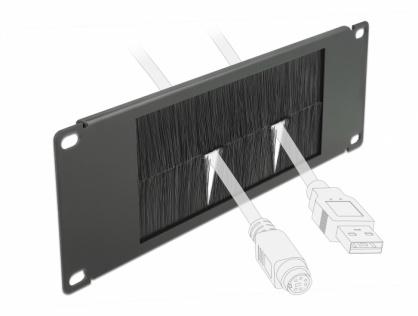 """Organizator cabluri 10"""" 2U pentru cabinet cu perii, Delock 66481"""