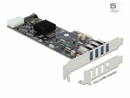 PCI Express cu 4 x SuperSpeed USB (USB 3.2 Gen 1) USB-A Quad Channel LPFF, Delock 89008