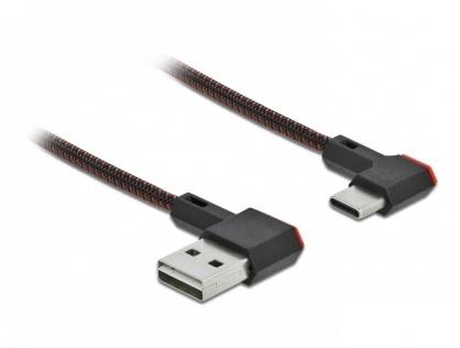 Cablu EASY-USB 2.0 la USB-C unghi stanga/dreapta 0.5m textil, Delock 85280