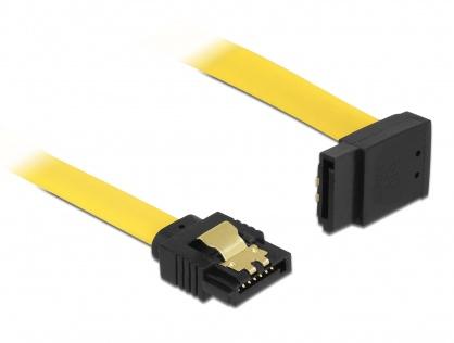 Cablu SATA III 6 Gb/s unghi sus-drept clips metalic 30cm galben, Delock 82804