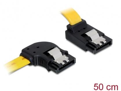 Cablu SATA III 6 Gb/s unghi stanga - sus cu fixare 50cm, Delock 82837