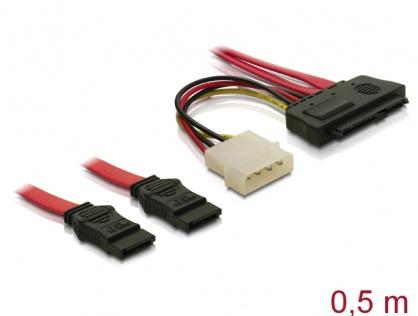 Cablu SAS SFF-8482 la 2 x SATA 0.5m, Delock 83054