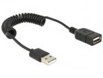 Cablu prelungitor USB 2.0 A T-M spiralat, Delock 83163