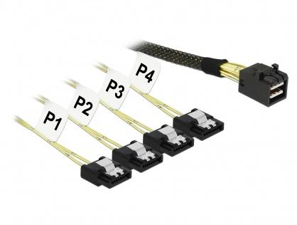 Cablu Mini SAS HD SFF-8643 la 4 x SATA 7 pini T-M 1m, Delock 83393