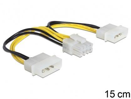 Cablu de alimentare EPS 8 Pini la 2 x Molex 4 pini 15cm, Delock 83410