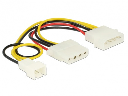 Cablu de alimentare Molex la Molex + ventilator 3 pini 14cm, Delock 83658