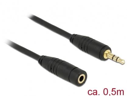 Cablu prelungitor audio jack 3.5mm 0.5m Negru, Delock 83762