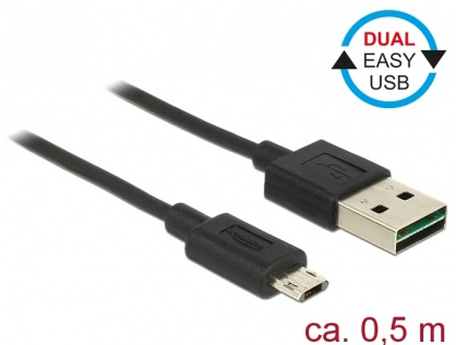 Cablu EASY-USB 2.0 tip A la EASY-USB 2.0 tip Micro-B T-T Negru 0.5m, Delock 83845
