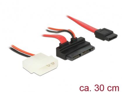 Cablu Micro SATA la SATA 7 pini + alimentare 2 pini unghi 5V 30cm, Delock 83911