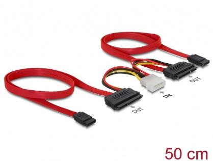 Cablu SATA date + alimentare Molex pentru 2 x HDD, Delock 84239