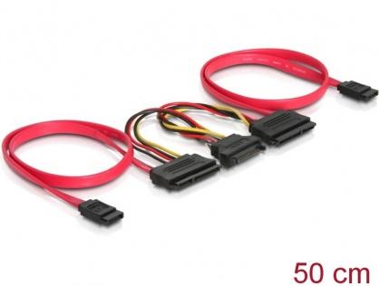 Cablu de date + alimentare SATA pentru 2 x HDD, Delock 84356