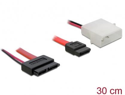 Cablu Slim SATA la SATA 7 pini + 2 pini alimentare M-T 30cm, Delock 84390