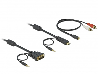Cablu HDMI la DVI-D SIngle Link 18+1pini, audio 5m, Delock 84457
