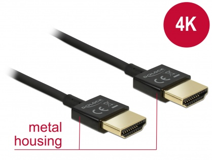 Cablu High Speed HDMI 4K cu Ethernet T-T 3D 0.5m Slim Premium, Delock 84786