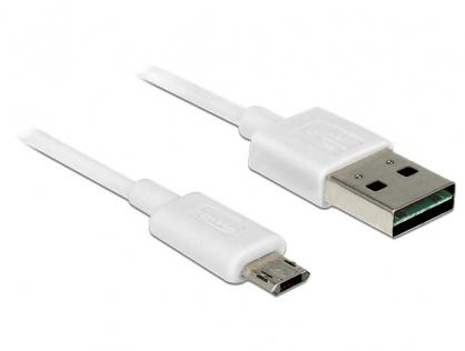 Cablu EASY-USB 2.0 tip A la EASY-USB 2.0 tip Micro-B T-T Alb 2m, Delock 84808