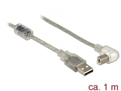 Cablu USB 2.0 tip A-B T-T unghi 1m transparent, Delock 84812