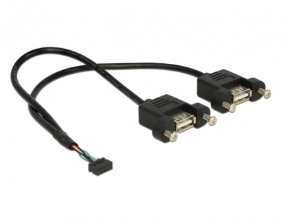 Cablu USB 2.0 pin header female 2.00 mm 10 pini la 2 x USB 2.0-A 25cm, Delock 84832
