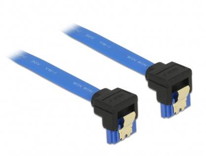 Cablu SATA III 6 Gb/s unghi jos/jos Bleu 10cm, Delock 85094