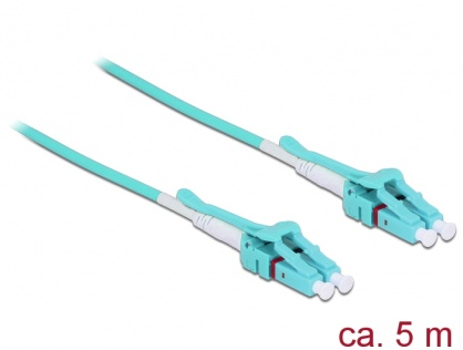 Cablu fibra optica LC - LC Multimode OM3 Uniboot 5m, Delock 85130